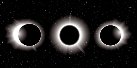 solar eclipse illustration in three stages