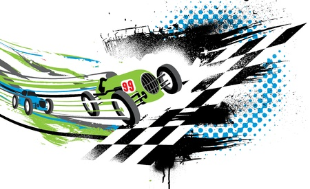 bandera carrera: Primero en llegar a la meta. Resumen ilustración de dos autos de carrera antiguos que van a través de la línea de meta.