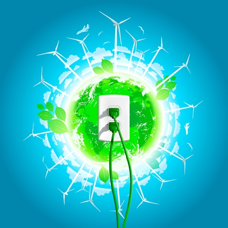 Green Energy Plug and world in the background  Vector