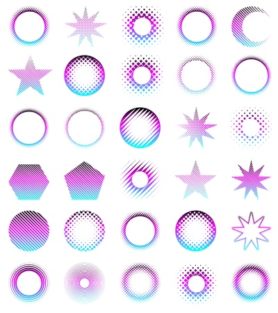 Set of 30 halftone elements in different shapes Stock Vector - 12987611
