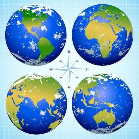 Blue Earth Marbles with 4 views and compass Stock Vector - 12987605