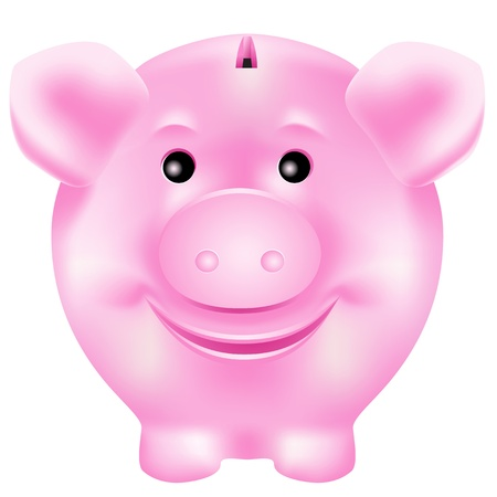 Cute, smiling pink piggy bank