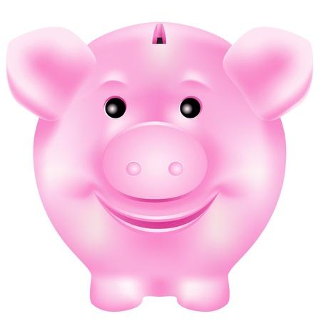 Cute, smiling pink piggy bank Banco de Imagens - 12987596
