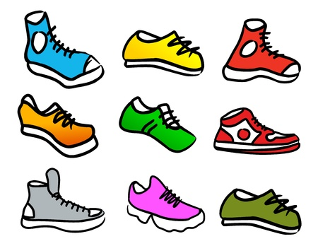 walking shoes: set of 9 colorful cartoon style shoes