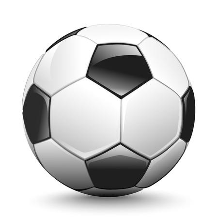 pelota de futbol: Bal�n de f�tbol brillante a la espera de ser expulsado, el vector