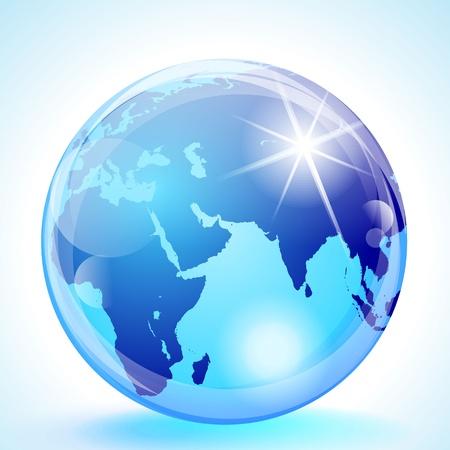 east indian: Esfera de m�rmol azul que muestra el Europa, �frica, el Oc�ano �ndico, Oriente Medio y Asia. Vectores