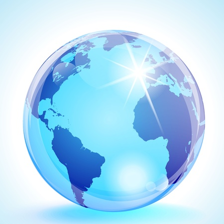Blue marble globe showing the Americas, the Atlantic Ocean, Europe & Africa. Vector
