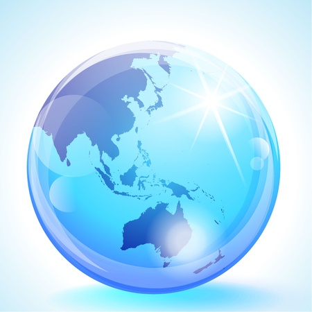oriente: Esfera de mármol azul que muestra el sur de Asia, Australia y el Océano Pacífico.
