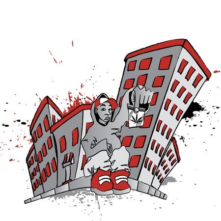 ghetto: Illustrazione di un ragazzo seduto con un sacchetto di pot