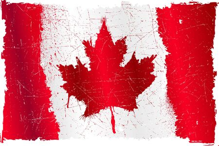detalied illustration of a Canadian flag in grunge style