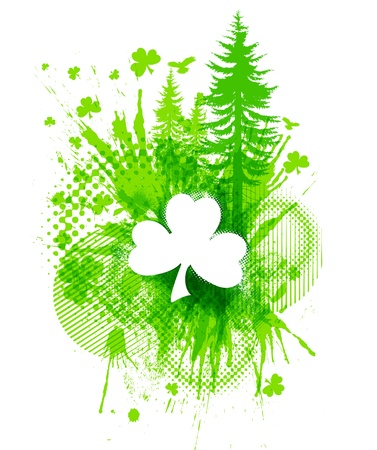 four leafed: Abstract St. Patricks lucky clover collage illustration