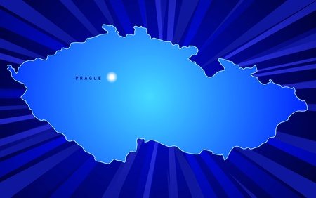 Map of Czech Republic with rays coming from the back Ilustrace
