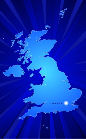 Map of England with rays coming from the back