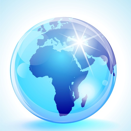 Blue marble globe showing the Europe, Africa & the Middle East.