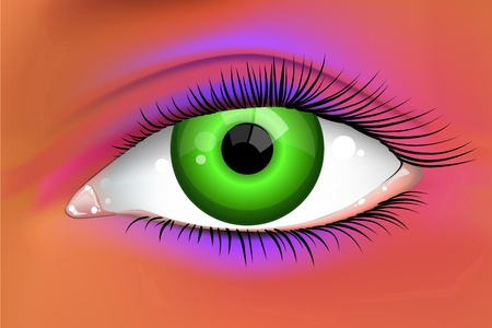illustration of an abstract bright green female eye  Stock Vector - 13109443