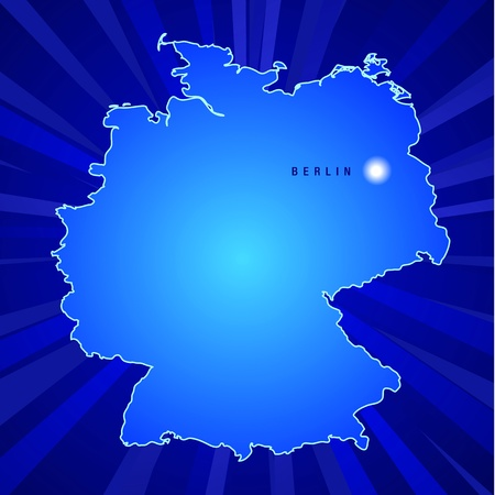 Map Of Germany with rays coming from the back