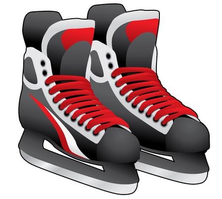 patinaje sobre hielo: par de patines de hielo en el fondo blanco