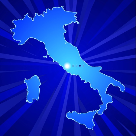 Map of Italy with Capital and rays glowing from the background