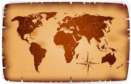 vintage world map: detailed illustration of a vintage map on old paper