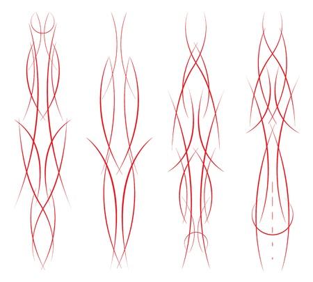 set van vier verschillende pinstripe combinaties op wit