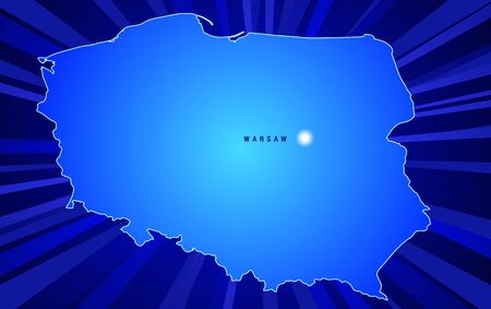 Map of Poland with rays coming from the background