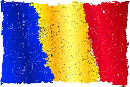 detalied illustration of a Romanian flag in grunge style