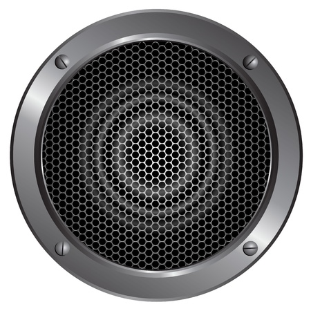 metal grid: Illustration of a speaker on white background
