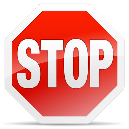 closeup of a glossy stop sign on soft shadow Vector