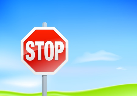 Landscape illustration with a stop sign and lots of copy space Vector