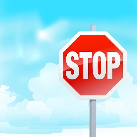 landscape illustration with a stop sign in the foreground Vector
