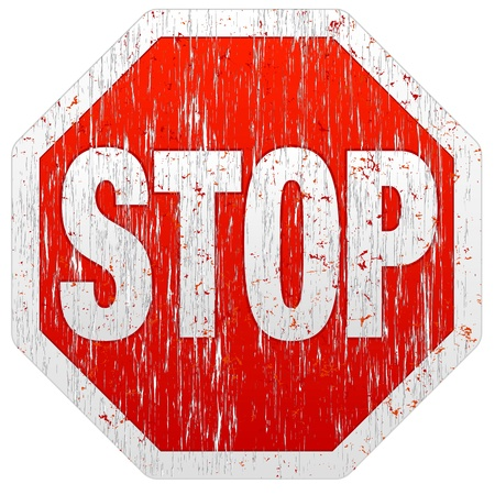 Illustration of a weathered grunge stop sign on white background
