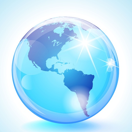 Blue marble globe showing the Pacific Ocean, the Americas and the Atlantic Ocean.