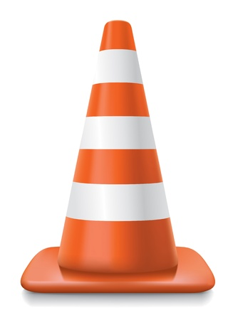 pylon: realistic striped traffic cone illustration on white background