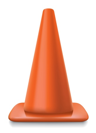 road marking: traffic conerealistic striped traffic cone illustration on white background