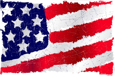american history: detalied illustration of a United States flag in grunge style