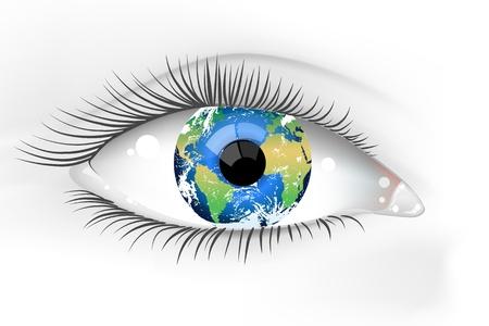 아름다운 여성의 지구 아이의 그림 스톡 콘텐츠 - 13109492