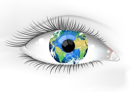 illustration of a beautiful female Earth eye
