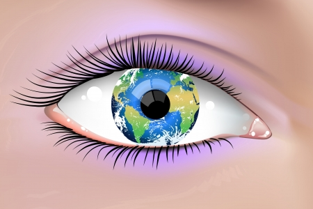 optical people person planet: illustration of a beautiful female Earth eye