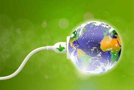 eficiencia energetica: concepto de energ�a verde con el planeta tierra y cable de alimentaci�n el�ctrica