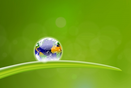 beautiful illustration of planet Earth dew drop Çizim