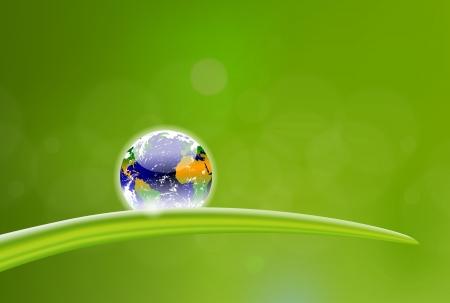 planeta verde: hermosa ilustraci�n de la ca�da de roc�o planeta Tierra