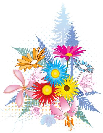 lots: Natural collage illustrations with lots of colorful flowers, ferns and trees