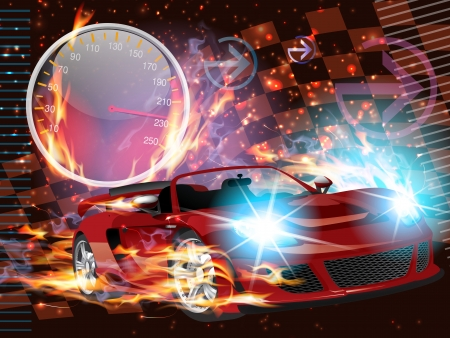 Motorsport Illustration of a speeding race car with bright headlights, speeding up and igniting