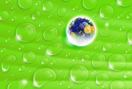 Beautifull illustration with planet Earth inside a dew drop on a green leaf