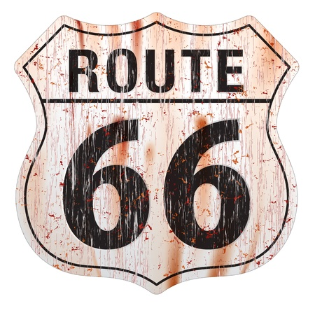 Grungy and rusted route sixty six icon on white background  Çizim