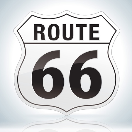 Glossy route sixty six icon on soft background Vector