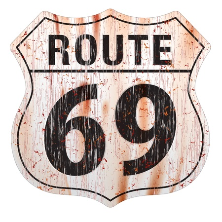 Grungy and rusted route sixty nine icon on soft background