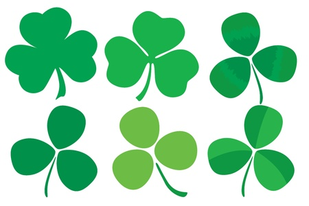 Six stylized clovers isolated on white background Vector