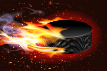 Detailed illustration of a hockey puck flying through the air on fire  Vector