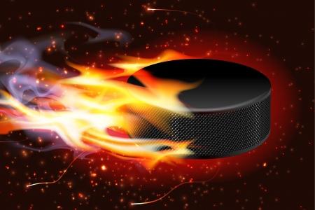 fire and ice: Gedetailleerde afbeelding van een hockey puck door de lucht vliegt in brand Stock Illustratie